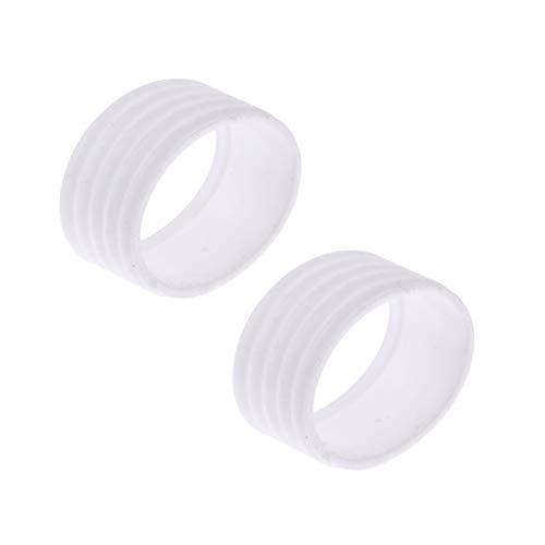 SZHXH 2 Piezas Bádminton Tenis Raqueta Grip Tapetennis Raqueta Grip Protector Anillo Silicone Overgrip 5 Color Tennis Protección Accesorio (Color : White)