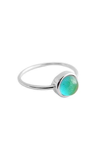 HONEYCAT Mood Ring in Silver | Minimalist, Delicate Jewelry (Silver, 6)