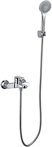 NFRMJMR Grifo mezclador de llenado de baño con ducha de mano, baño montado en la pared kit de grifo de ducha de bañera de latón mezclador grifo grifo de bañera de cromo toques, ducha a presión de 4 mo
