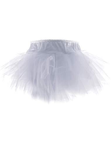 Yummy Bee Falda Tutú Vestido Fantasía Estilo Despedida de Soltera Burlesque Disfraz Talla Grande 34-56 (Blanco, 36)