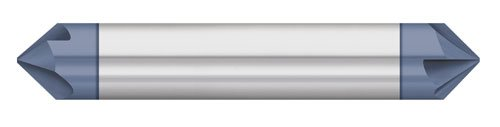 Titan TC88134 Solid Carbide Chamfer Mill, 4 Flute, Double End, 82 Degree Angle, AlTiN Coated, 1/4' Size, 1/4' Shank Diameter, 2-1/2' Overall Length
