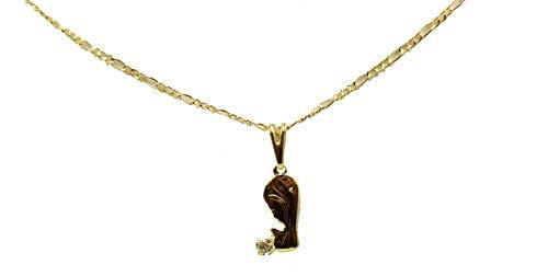 Colgante para niña de la Primera Comunión de Diamantados de Florida con medalla chapada en oro de 14 quilates con cadena de 45,7 cm