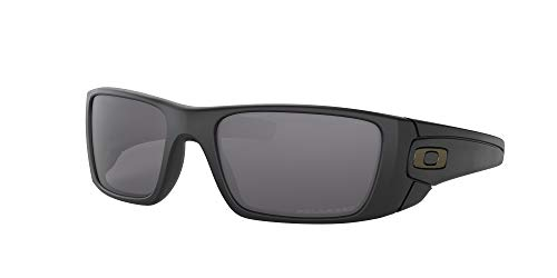 Oakley Men's OO9096 Fuel Cell Rectangular Sunglasses, Matte Black/Grey Polarized, 60 mm