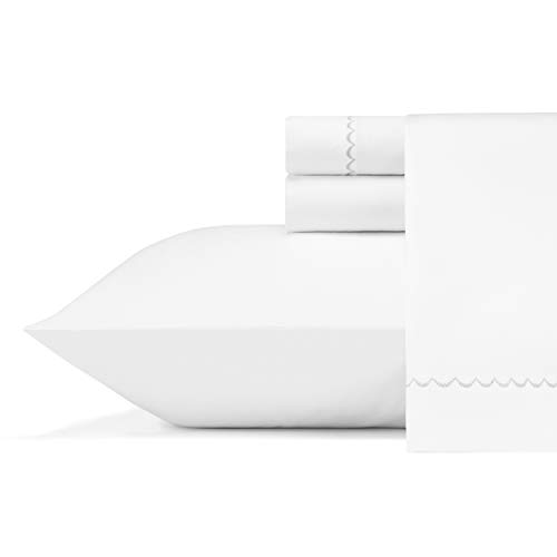Vera Wang |Fashion Collection | Bed Sheet Set - Crisp & Cool, Lightweight Breathable & Moisture-Wicking Bedding, King, Simple Scallop