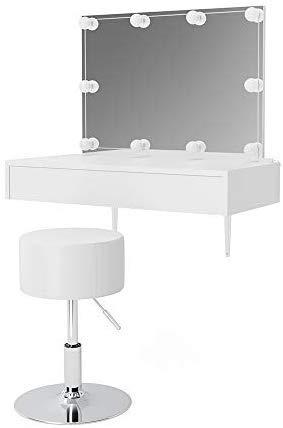 Vicco Schminktisch Alessia Frisiertisch Kommode Frisierkommode Spiegel Weiß inklusive Hocker und LED-Lichterkette