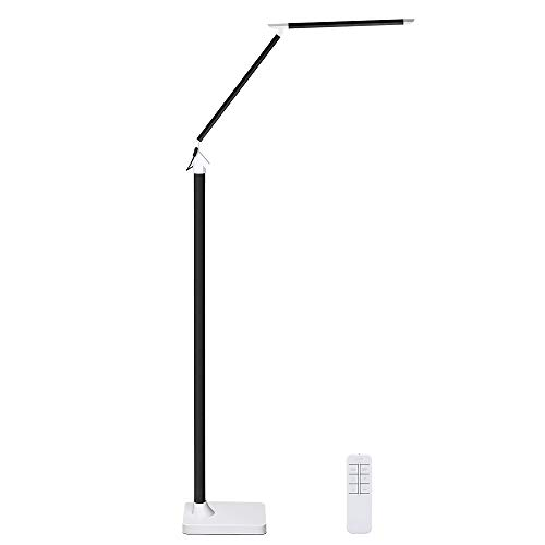 KEDSUM Dimmable Eye-Care LED Floor Lamp for Living Room/Bedroom,Standing Lamp Remote Control & Touch Control [12W, 5 Lighting Modes,5 Level Dimmers,Piano Black ]