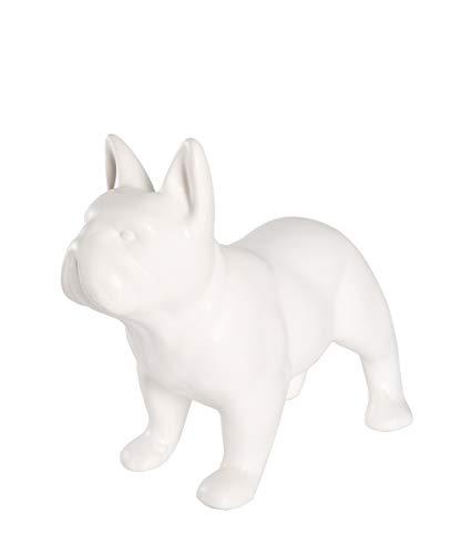 Nayothecorgi Ceramic Dog Statue - Standing French Bulldog (Matte White)