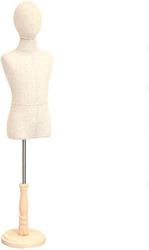 JinSui Maniqui Regulable Costura Maniqui Busto de exhibición de maniquí Infantil de Moda de modistas con una Base Redonda de Madera Blanca con Brazos