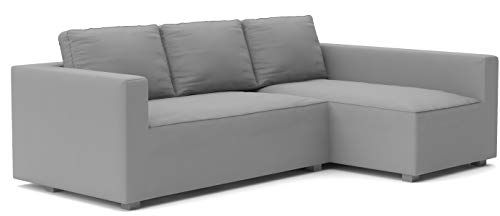 The Cotton Manstad Cover Replacement is Custom Made for IKEA Manstad Sofa Bed with Chaise Sectional Cover, Or Corner Slipcover (Light Gray, Left ARM Longer)