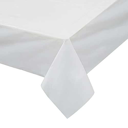 Disposable Tablecloth for Parties, 54' x 108' Plastic Table Covers, Pack of 6, White Rectangle