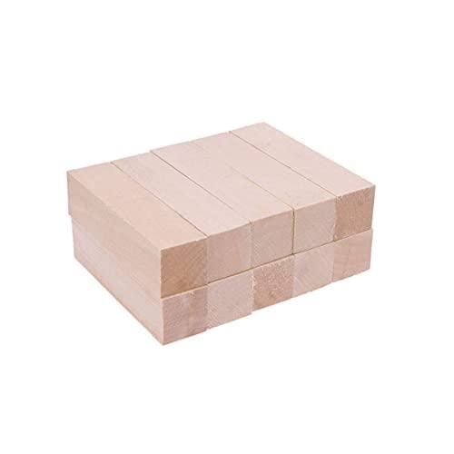 LIXBD 10 bloques de madera sin terminar para principiantes de tallar bloques de bricolaje manualidades suministros de arte para niños y adultos