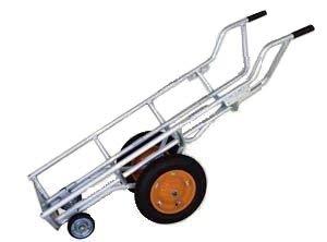 LPガスボンベ運搬台車 アルミ製エアータイヤ LPG-504 4輪アオリ用フック無し