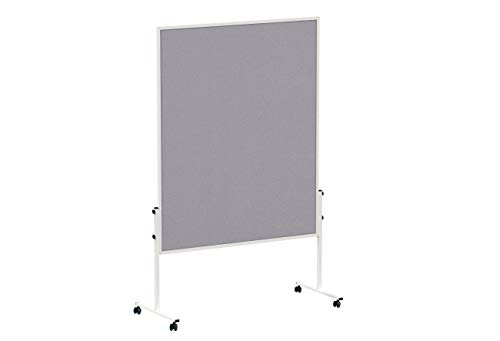 MAUL Moderationstafel Filz Solid 150 x 120cm, Beidseitig pinnbar, Mobile Mehrzwecktafel, Mit Stellfüßen, Inklusive 4 Rollen, Grau, 6365682, 1 Stück