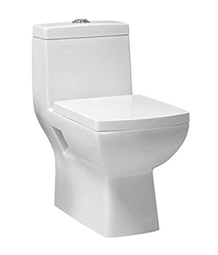 Belmonte Ceramic Floor Mounted One Piece Western Toilet/Water Closet/Commode/EWC Square S Trap - White