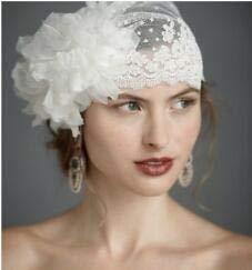 Velo de novia con lunares de tul y velos de boda hechos a mano con flores musulmanas para novia, accesorios de boda personalizados velo de novia (color: blanco)