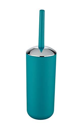Wenko WC-Garnitur Brasil, hochwertiger Bürstenhalter aus bruchsicherem Kunststoff, inklusive Toilettenbürste, Ø 10 x 37 cm, petrol