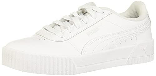 PUMA Women's Carina Sneaker, Puma White-puma White-puma Silver, 8 US