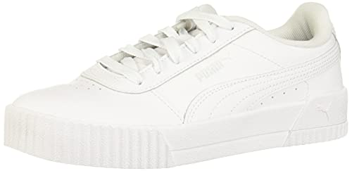 PUMA Women's CARINA Shoe, puma white-puma white-puma silver, 10 M US