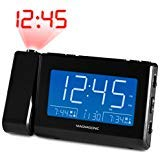 Magnasonic Alarm Clock Radio with USB Charging for Smartphones & Tablets, Time Projection, Auto Dimming, Dual Gradual Wake Alarm, Battery Backup, Auto Time Set, Large 4.8' LED Display, AM/FM (CR64)