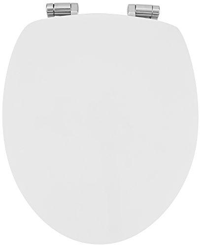 Sanwood WC-bril GLOSSY ART in wit met hoogglanzend oppervlak, omkeerbaar edge vorm, toiletbril met softclose, hout, 46,3 x 37,6 x 5,5 cm
