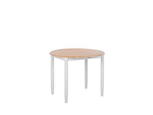 Beliani Modern Round Dining Table ø92 cm Extendable Tabletop Drop Leaf Light Wood Grey Omaha