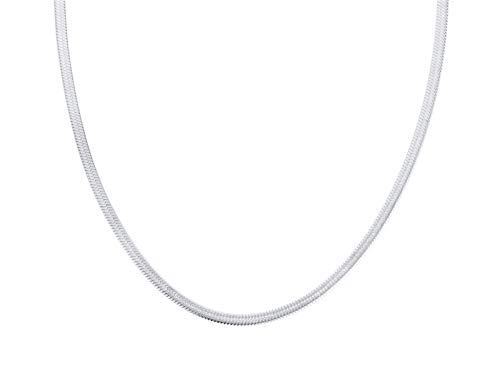 HIJONES Gargantilla con Cadena de Serpiente para Hombre y Mujer de Acero Inoxidable Plata 50 cm 3 Mm