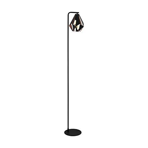 Eglo Carlton 4 - Lámpara de pie (1 bombilla de acero con interruptor de pedal), color negro y cobre envejecido