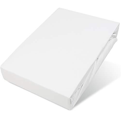 Belsonno® Spannbettlaken Boxspringbett Weiß 125g/m² Steghöhe 40 cm | Spannbett-Tuch Boxspringbett-Bezug | ÖKO-TEX® STANDARD 100 | Rundum-Gummi Bettbezug für 180x200 200x200 180x220 200x220