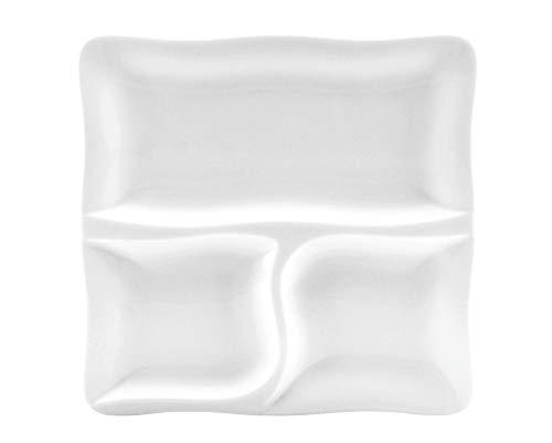 CreaTable - GOURMET - 3-geteilter Teller 28 cm aus Porzellan/Speiseteller/Fondueteller