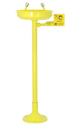 CGOLDENWALL Lavaojos de Emergencia 305mm Tazón de lavaojos de Gran Diámetro con Cabezales doble con Filtro & 12L/min Tampón de Flujo (Pedestal montado con pedal, revestimiento ABS)