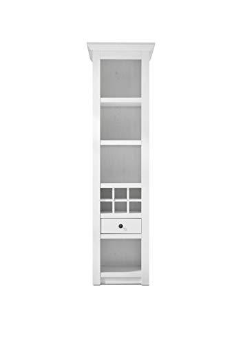 Newfurn Vitrine Vitrinenschrank Landhaus Holzvitrine II 58x207x 45 cm (BxHxT) II [Max.one] in Pinie Weiß Nachbildung/Pinie Weiß Nachbildung Wohnzimmer Schlafzimmer Esszimmer Flur Diele