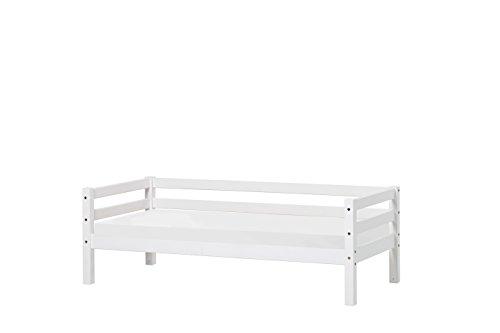 Hoppekids Basic Junior-/Kinder-/Jugendbett, Kiefer massiv, Liegefläche 90 x 200 cm, Holz, weiß, 208 x 98 x 56 cm