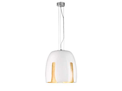 Lámpara de techo colgante exclusiva cromada con pantalla de cristal redonda de 48 cm de diámetro en color blanco, interior revestido en oro, suspensión de 150 cm.