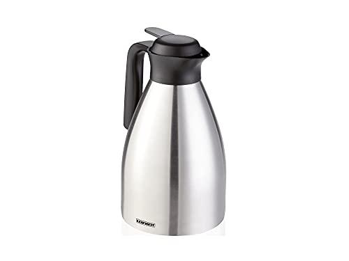 Leifheit Shine 1, 5 L Isolierkanne, 100% dicht, Thermoskanne mit doppelwandigem Edelstahl-Isolierkörper, praktisches Öffnen und Schließen mit einer Hand, Kaffekanne, Teekanne, silber schwarz
