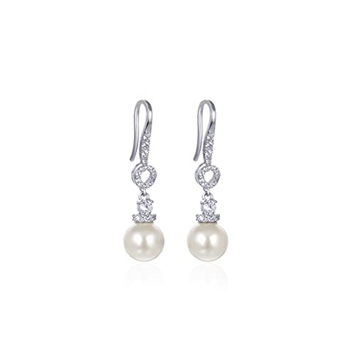 S925 Pendientes De Plata Diamante Perla Ear Gancho Femenino Temperamento Simple Personalidad Tide Pendientes Oído (Color : Silver, Size : A Pair)