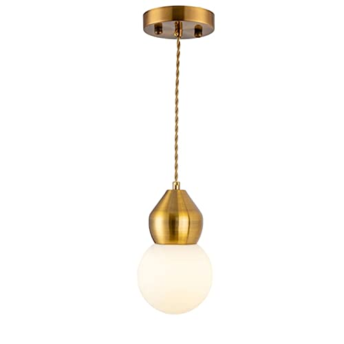 Lámpara Colgante Moderna Lampara Araña Cuerpo De Lámpara De Cobre Altura Ajustable Iluminación Colgante De Techo Pantalla De Cristal Luces Colgantes para Isla De Cocina E27* 1(D: 12cm)