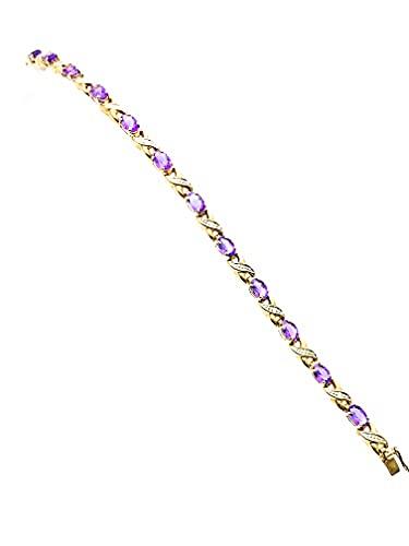 Daniel's the Jewellers - Pulsera de oro amarillo de 9 quilates con amatista y diamante