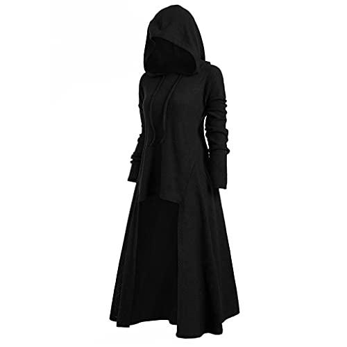 Darringls Halloween Gothic Kleidung Damen mit Kapuze Mittelalter Kleid Tie Dye Renaissance Kostüm Damen Mittelalter Kleidung Langarm Retro Gothic Cosplay Kostüm Hoodie Asymmetrische Maxikleid…