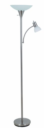 "Catalina Lighting 17539-000 Contemporary Torchiere Floor Lamp with Adjustable Reading Light and Frosted Glass Shade, 71"", Brush Steel"