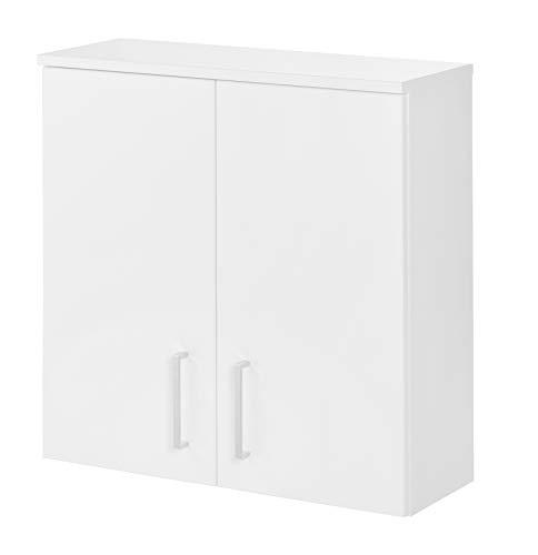 FACKELMANN Hängeschrank Atlanta/Schrank mit gedämpften Scharniere/Maße (B x H x T): ca. 60,5 x 68 x 32,5 cm/hochwertiger Schrank fürs Badezimmer mit 2 Türen/Korpus: Weiß/Front: Weiß