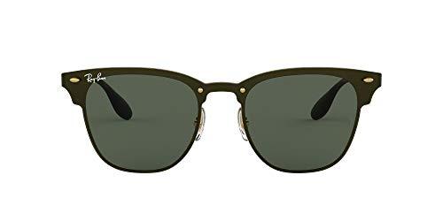 Ray-Ban 3576n Gafas de sol, Gold Striped/Graygreen, 41 Unisex-Adulto