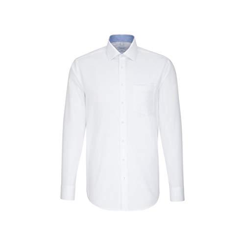 Seidensticker Herren Einfarbiges, Schickes Hemd Mit Extra Tragekomfort Und Kent-Kragen – Comfort Fit – Langarm Businesshemd, Weiß (Weiß 1), 47