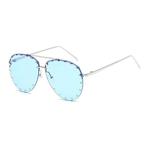 UKKD Gafas De Sol Fashion Cool Sun Style Oval Sunglasses Sun Vintage Rivets-Color 6