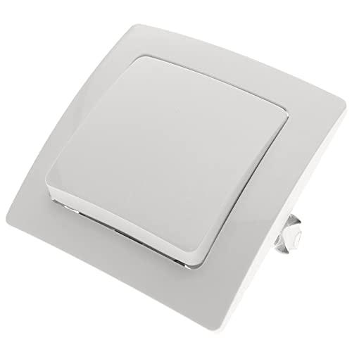 BeMatik - Interruptor de cruzamiento empotrable con Marco 80x80mm Serie Lille de Color Blanco