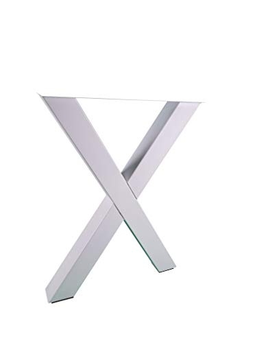 Table runners X-Shape made of square profiles 80 x 80 mm, X-shaped table frame metal white matt
