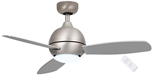 SOLTRONICS Ventilador de techo con luz y mando a distancia de 42 pulgadas, luz LED de 3 colores, reversible, níquel mate/Tumbleweed,...