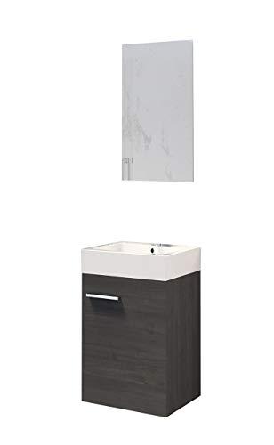 Baikal 280034042 Muebles de Baño Lavabo y Espejo, de una Puerta, Ideal para aseos o baños pequeños, Melamina 16, Roble Gris Ceniza, cm