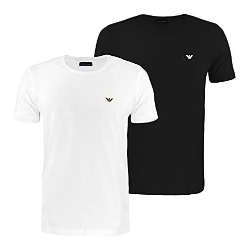 Emporio Armani Underwear 2-Pack T-Shirt Endurance Camiseta, Negro/Blanco, XL para Hombre