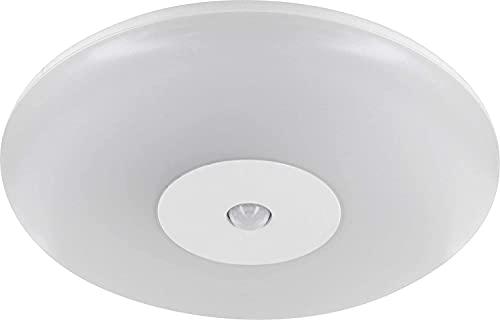 Lámpara de techo LED Slim para entornos húmedos, 15 W, IP44, con detector de movimiento, 360°, luz blanca diurna (4000 K)