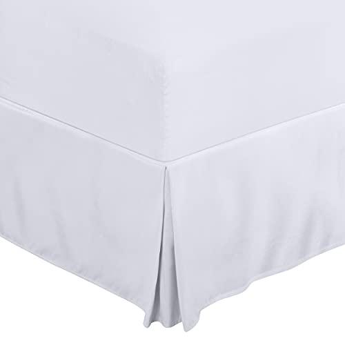 Utopia Bedding Bettvolant, weiß – vierfach plissiert, gebürstete samtige Mikrofaser – bequem, knitterfrei, farbecht, flecken- und abriebfest – Hotelqualität, extrem langlebig von Utopia Bedding